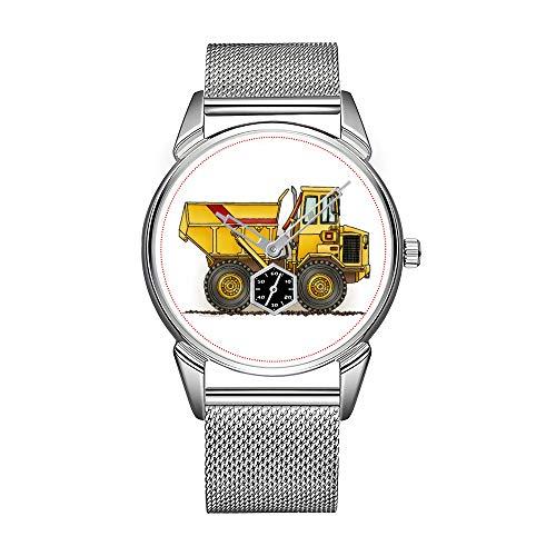 ファッションメンズ腕時計 シルバーステンレススチール 防水腕時計 メンズ トップブランド ラグジュアリー メンズ時計 ビッグダンプトラック腕時計