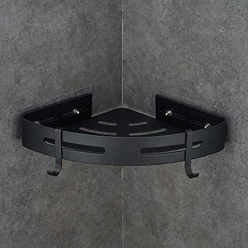 GERUIKE Eckregal Ohne Bohren Saug-Aufkleber Matte Finish Wandmontage Duschregal Saug Badezimmer Regal Eckregal Dusche Aluminium Schwarz Dreieck