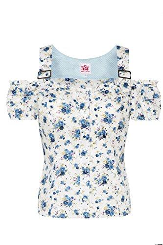 Spieth & Wensky dames blouse wit met bloemetjes blauw Carmenblouse
