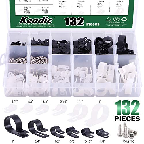 Keadic Cable Clamp 132 Pack Nylon R-Type Cord Fastener Clips Assortment Kit White and Black with 135 Pack Stainless Steel Screws, Great for Wire Management