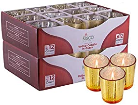 KISCO CANDLES: Votive Candles with Holders Clear Decorative Glass Home Decor, Beautiful Living Room, Kitchen, Bathroom Lig...