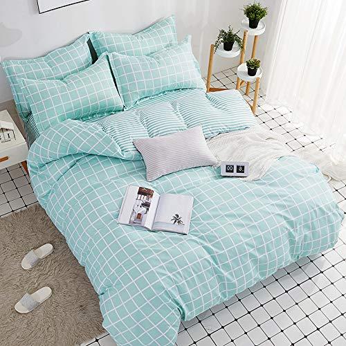 BH-JJSMGS 4-teilige gestreifte Karierte Bettwäsche aus Aloe-Baumwolle, Bettbezug und Kissenbezug, Jugendgitter 200 * 230 cm