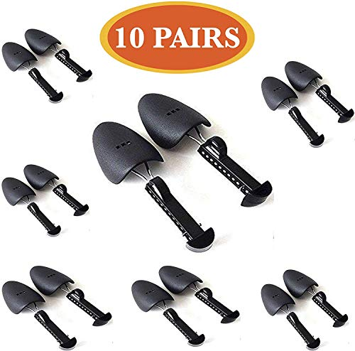 Starkong 10 Pairs of Shoe Trees I Adjustable Length Shoe Trees for Men I Shoe & Boot Trees I Men Shoe Tree Stretcher Boot Holder Organizers I Shoe Form Plastic I Heel Support (10)