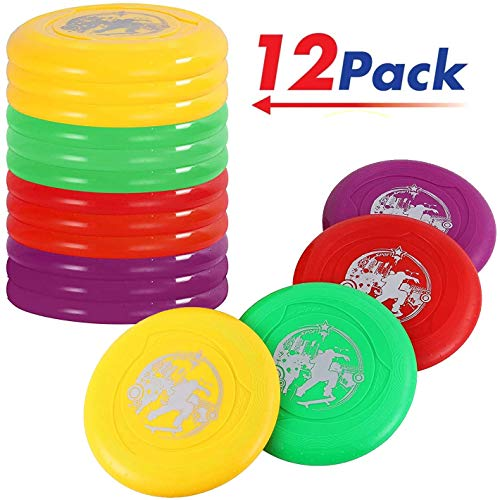 Liberty Imports Plastic Flying Disk Set for Outdoors Beach Backyard Sports Play Discs Pack of 12