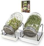 Green SEEDS es un Juego de 2 frascos de 1000 ml, para Hacer brotes de Soja, con Tapa de Rejilla de Acero Inoxidable, Soporte, tazón de cerámica + ABC de brotes Gratis [E-Book]