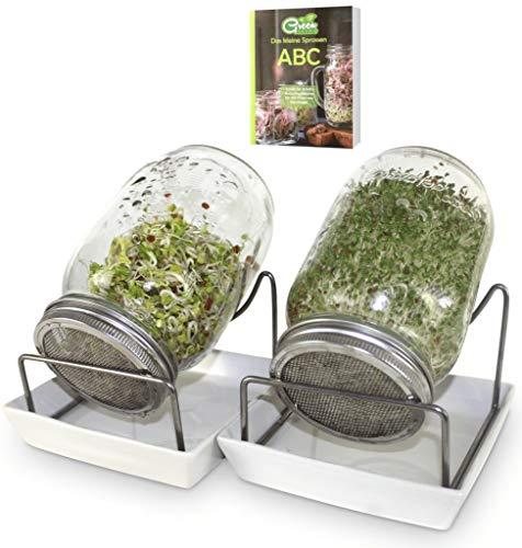 Green SEEDS Sprossenglas Keimglas 2er Set 1000ml mit hochwertigem Edelstahl-Gitterdeckel, Ständer, Keramikschale + GRATIS Sprossen-ABC [E-Book]