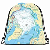 DHNKW Drawstring Backpack String Bag 14x16 Circle Arctic Ocean Pole Sea Routes Map Northwest Education Science Route Northern Passage Polar Northeast Sport Gym Sackpack Hiking Yoga Travel Beach