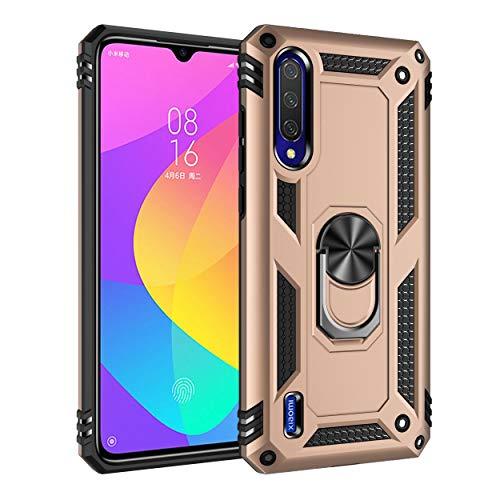 Capa Xiaomi Mi CC9/A3Lite Case Protetor Material militar TPU macio +couro de PC proteção dupla camada de metal magnético para carro Suporte 360 graus girado anti-queda e anti-riscos capa:Dourado