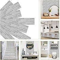 7ピース/セットグレーレンガパターンウォールステッカー防水自己粘着壁紙家の装飾寝室キッチンアートデカール