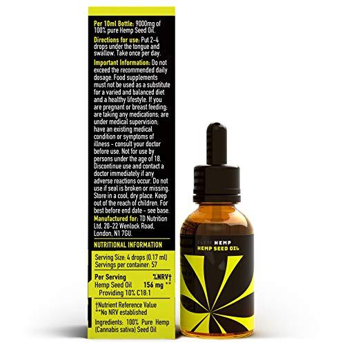 Elite Hemp - Lab Tested 100% Pure Hemp Oil Drops - 9000mg - 10ml Hemp Seed Oil