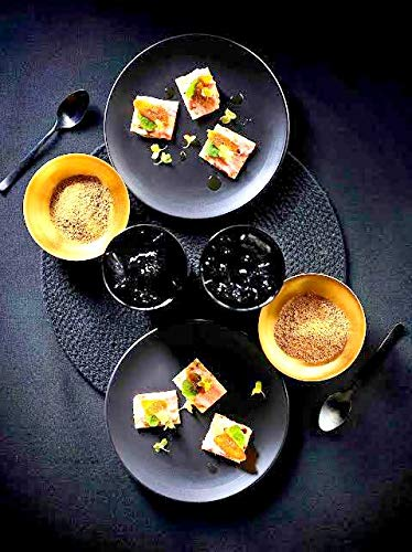 Black Plates Handmade Plain Ceramic/Stoneware Dinner Plate 10 Inches (Set of 2) Little Things - Make in India