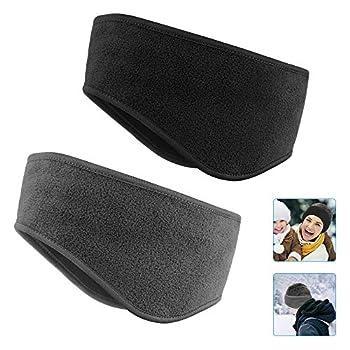 Ear Warmers Headband KOMAKE 2 Pack Earmuff Headband Fleece Earmuffs Running Headband Winter Ear Covers Moisture Wicking Sweatband Ski Sport Headband For Men & Women  Black+Gray