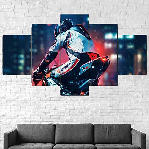 GHYTR Imagen sobre Lienzo Cuadros Abstractos Modernos XXL Poster 5 Piezas Ciclista, Motocicleta, Bicicleta Arte De Pared Imágenes Modulares Sala De Estar Decoración para El Hogar 150X80Cm