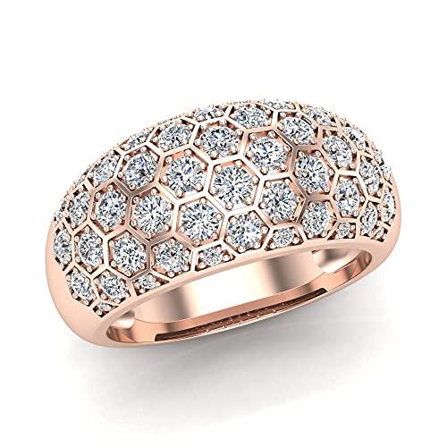 Anillos de cóctel para mujer con forma de cúpula de oro de 14 quilates de 1,00 quilates, Piedra, Diamond,