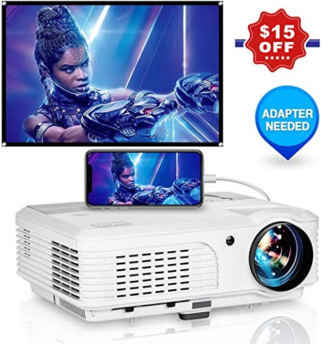 """WIKISH Hd Home Projector 4400 Lumen Led Video Projector with 150"""" Display Zoom Hdmi Usb Vga for Indoor Outdoor Movie Dvd Tv Box Ps4 Laptop Tablet"""