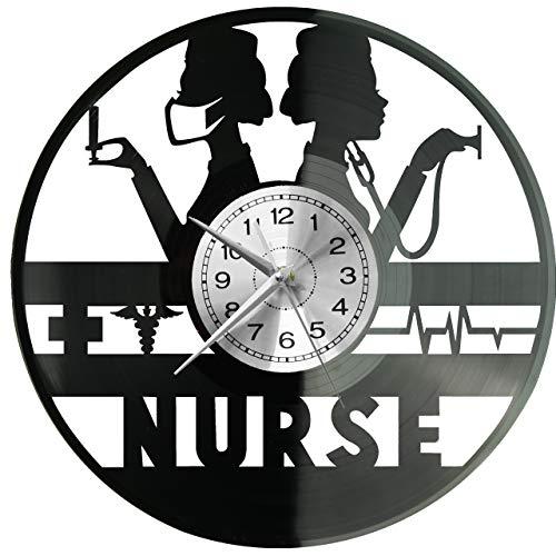 Reloj de pared para enfermera con disco de vinilo, reloj retro, grande,...