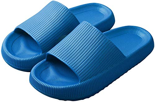 QAZW Pantuflas Ultra Suaves Cloud Feet, Zapatillas de Casa Súper Suaves, Diapositivas de Almohada, Zapatos de Suela Gruesa Antideslizantes de Baño, Toboganes de Ducha de Secado Rápido,Blue-34/35
