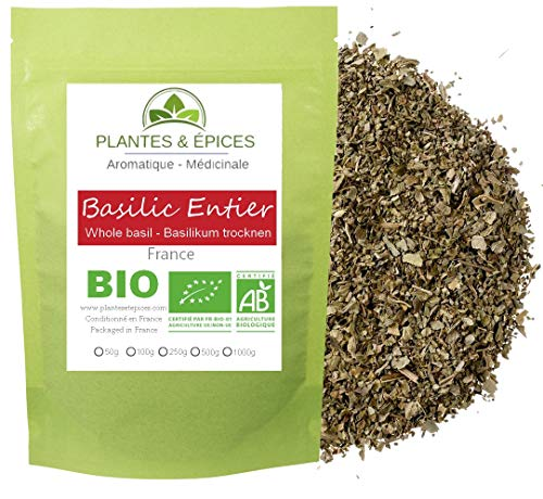 Plantes & Epices - feuilles de Basilic séchées au soleil BIO,100% Naturelles - Sachet Fraîcheur Biodégradable Refermable (50G)