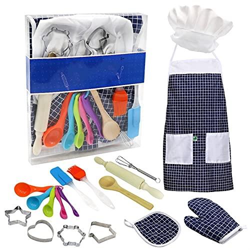 Delantal 11/14 piezas para niñas pequeñas, juego de cocina para hornear, gorro de chef, guante y utensilio para vestir, disfraz de chef, juego de roles (Color : Blue 14Pcs)