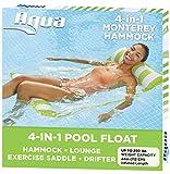 Aqua 4-in-1 Monterey Hammock Inflatable Pool Float, Multi-Purpose Pool Hammock (Saddle, Lounge Chair, Hammock, Drifter) Pool Chair, Portable Water Hammock, Lime Green /White Stripe