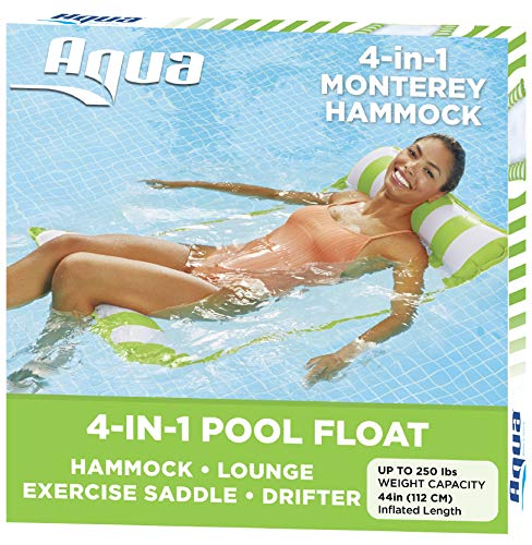 Aqua Monterey Water Inflatable 4-in-1 Versatile Design Pool Hammock Floating Lounger Chair, Lime Green and White Stripes