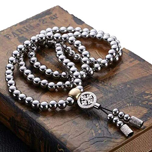 Outdoor Self Defense Chain Full Steel Martial Arts Weapon 108 Buddha Beads Necklace Chain