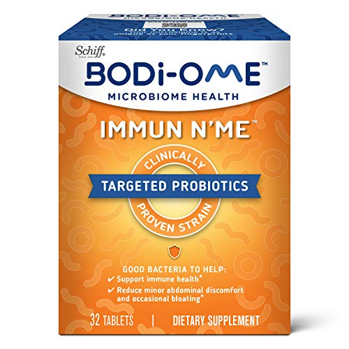 Probiotic Tablets For Immune and Microbiome Health*, Bodi-Ome Immune N'Me (32 count in a box), Clinically Proven Shelf-Stable Targeted Probiotics for Women Men Adults, Gluten Free, CFUs