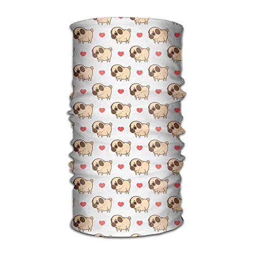 Casepillows Cartoon Pug Hond Liefde Hart Hoofddoek Unisex Hoofddeksels Hoofdband Nek Sjaal Polyester Haarband Magic Head Sjaal Bandana Vintage Headdress Gezicht Masker Nek Gaiter