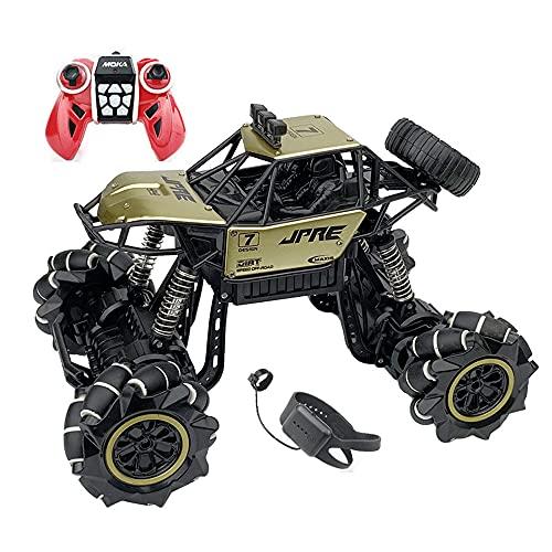 KGUANG Gesture Induction Off-road RC Car Aleación Dual-mode 4WD Amortiguador Bigfoot 2.4G Control remoto Buggy USB Rotating Drift Eléctrico Vehículo de juguete para niños Regalo de cumpleaños para niñ