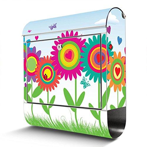 BANJADO Edelstahl Briefkasten mit Zeitungsfach   Design Motivbriefkasten   Briefkasten 38x43x12cm groß   Postkasten mit Montagematerial   2 Schlüssel Motiv Bunte Blumen
