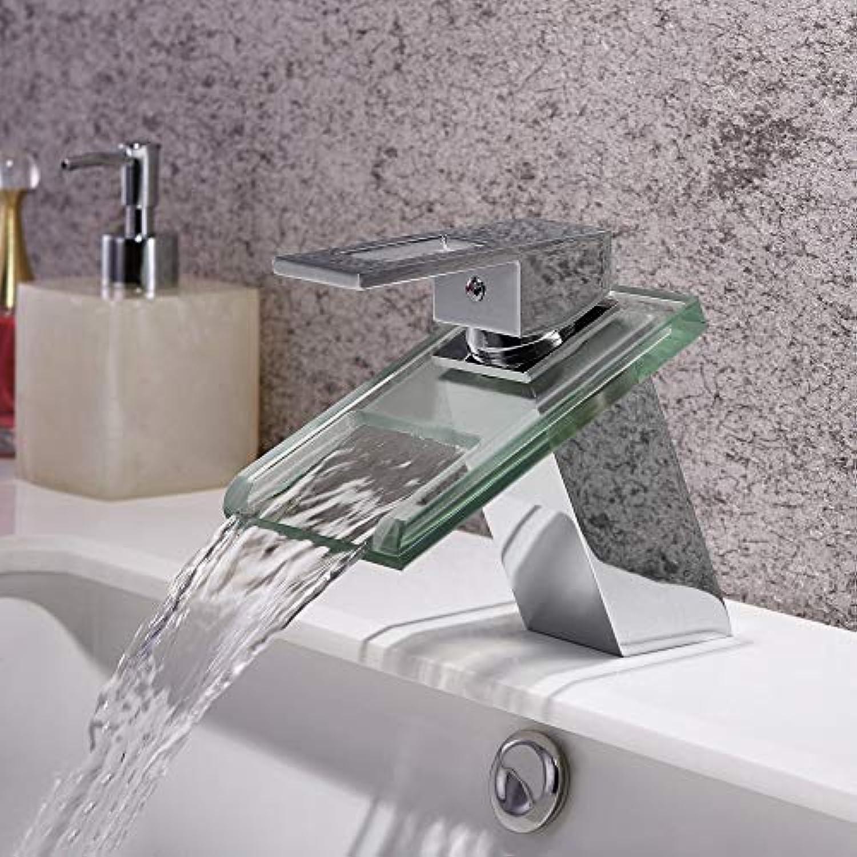 Waschtischarmatur Wasserfall Glasauslauf Waschbecken Wasserhahn Chrom Finish Square Wasserhahn