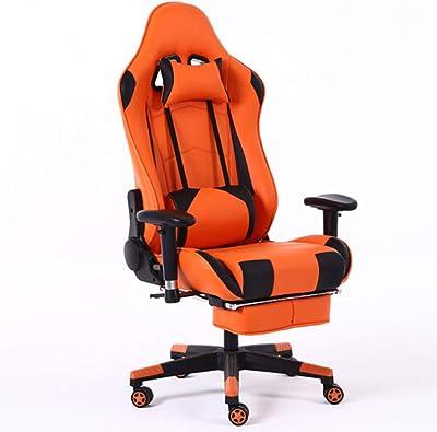 ゲームチェア、調節可能なマッサージ腰椎サポートとフットレスト、PUレザースイベルチェア付きレーシングオフィスのコンピュータチェア,イエロー
