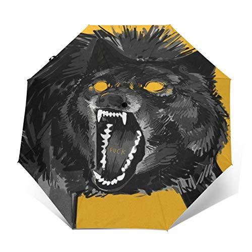 TISAGUER Regenschirm Taschenschirm,Hand gezeichnete künstlerische Gekritzel,Heulender Grauer Wolf auf gelbem Hintergrund,Fick,Auf Zu Automatik,windsicher,stabil
