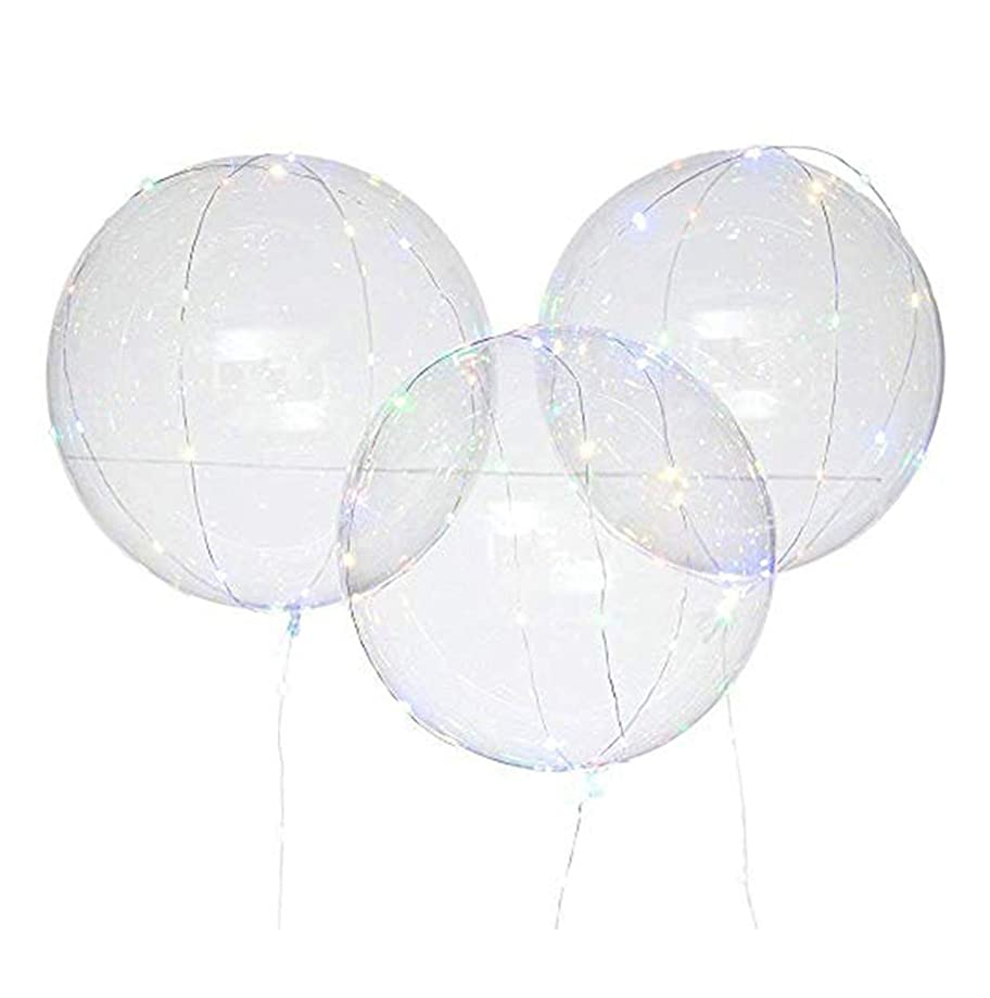 Led Colored Lights Balloon Transparent Round Bubble Decoration Party Wedding Luminous Glowing Balloons Reusable
