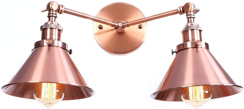 BAIF Metallic rot Doppelkopf Wandleuchte Retro Kreativ Bekleidungsgeschft Restaurant Schlafzimmer Nachttischlampe Einfache Nordic Lampe Cafe Wandleuchte