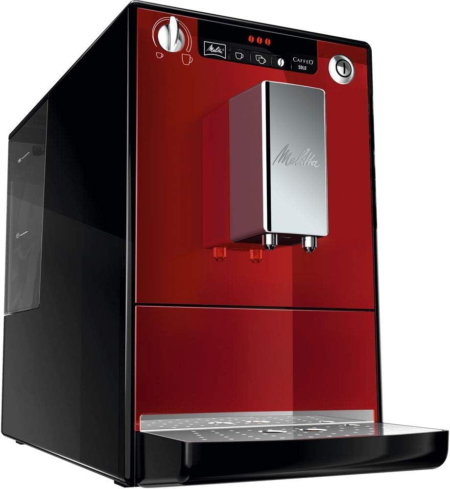 Melitta Caffeo Solo, Argent, E950-103, Machine à Café et Expresso Automatique avec Broyeur à Grains Rouge
