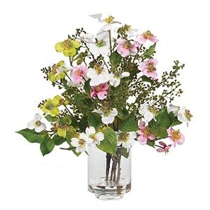 Silk Flower Arrangements Nearly Natural 4687 Dogwood Silk Flower Arrangement, Assorted