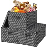 Storage Bins with Lids- 3 Pack, Fabric Storage Box Cubes Baskets Organizer with Durable Handles,Collapsible Toy Chest for Closet,Playroom,Shelves,Office,Nursery,Pantry(15.9x12x10.2 inches)-Grey