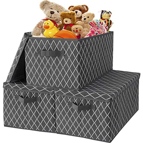 Storage Bins with Lids- 3 Pack Fabric Storage Box Cubes Baskets Organizer with Durable HandlesCollapsible Toy Chest for ClosetPlayroomShelvesOfficeNurseryPantry159x12x102 inches-Grey