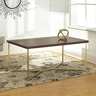 WE Furniture Mid Century Modern Marble Gold Rectangle Coffee Table