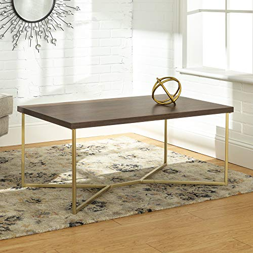 Walker Edison Furniture Company Mid Century Modern Wood Rectangle Coffee Accent Table Living Room, Dark Walnut/Gold