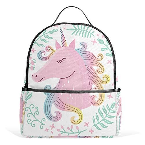 Unicorn Pink Garland Backpack School Bookbag Travel Bag