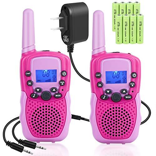 Rechargeable Walkie Talkies - Kids Walkie Talkies Walki Talki Handheld Kid Toy with LED Flashlight for Girls Boys Outdoor Camping Hiking 2 Pack - Rose