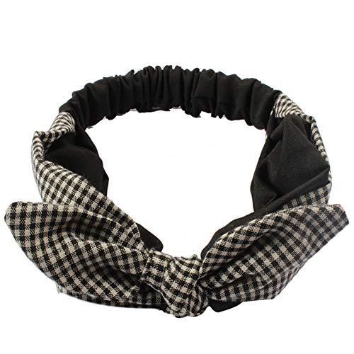 Yiwa Haarband voor dames, elastische haarband van katoen met Schotse ruiten, konijnen, oorsieraad 4