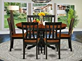 East-West Furniture AVAT7-BLK-W 7-piece dining table set 6 Great kitchen chairs - A Beautiful round kitchen table- Wooden Seat and black and cherry mid-century Butterfly leaf dining table