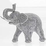 The Leonardo Collection Figura decorativa de elefante de color plata brillante de pie