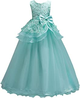 Zhhlinyuan ファッション Little Girls 3D Flower Lace Princess ドレス Kids Party Pageant Wedding Bridesmaid Long Dresses