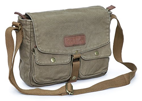 Gootium Canvas Messenger Bag - Vintage Crossbody Shoulder Bag Military Satchel, Army Green