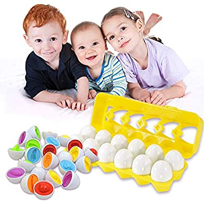 Angusiasm Toddler Toys -Color Matching Egg Set Matching & Sorting Learning Toys Easter Eggs Early Learning Educational Fine Motor Skill Montessori Gift for 1 2 3 Years Old Toddlers Kids