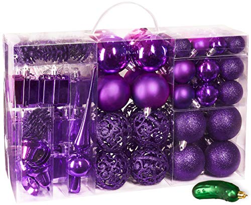 BRUBAKER 101 Pack Assorted Christmas Ball Ornaments - Shatterproof - with Green Pickle and Tree Topper - Designed in Germany - Purple